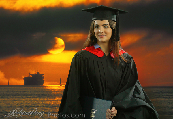 university graduation gown, studio photography