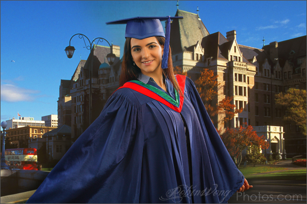 Simon Fraser university graduation gown, studio photography